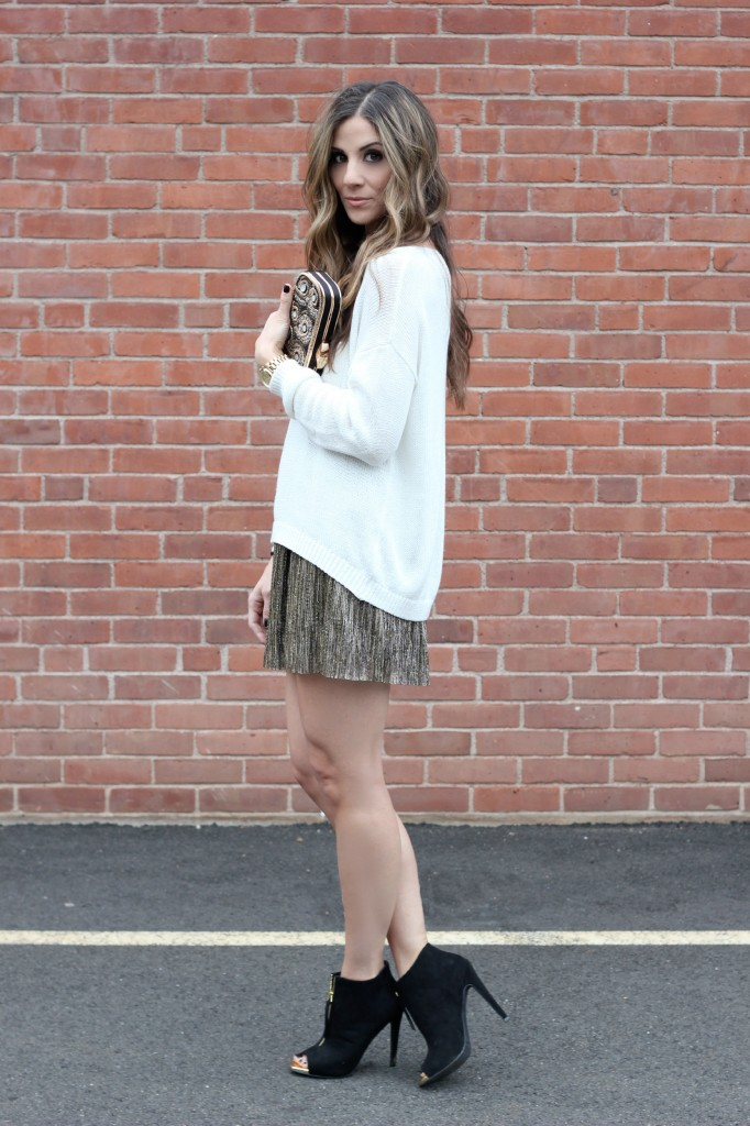 Holiday Outfit, Metallic Skirt, Metallic Beaded Clutch