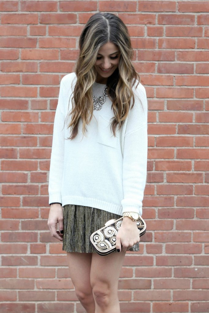 Holiday Style, Metallic Skirt, Beaded Clutch