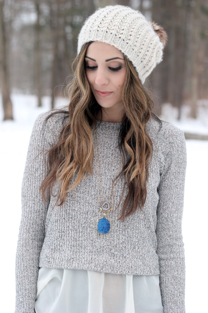 The Silver Wren necklaces, winter layers, druzy stones, Hunter boots