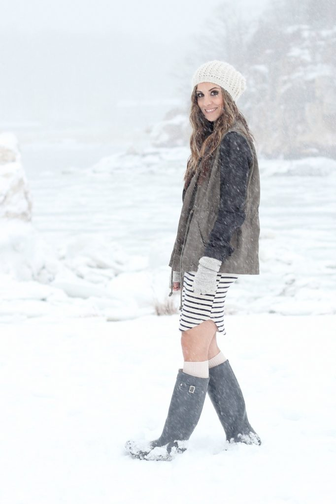 Striped dress, canvas jacket with leather sleeves, Hunter boots