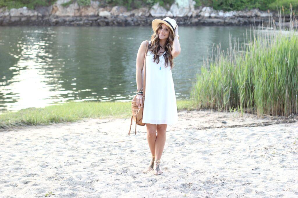 Pink Blush Maternity, Maternity Dress, Basic White Chiffon Dress - Lauren McBride
