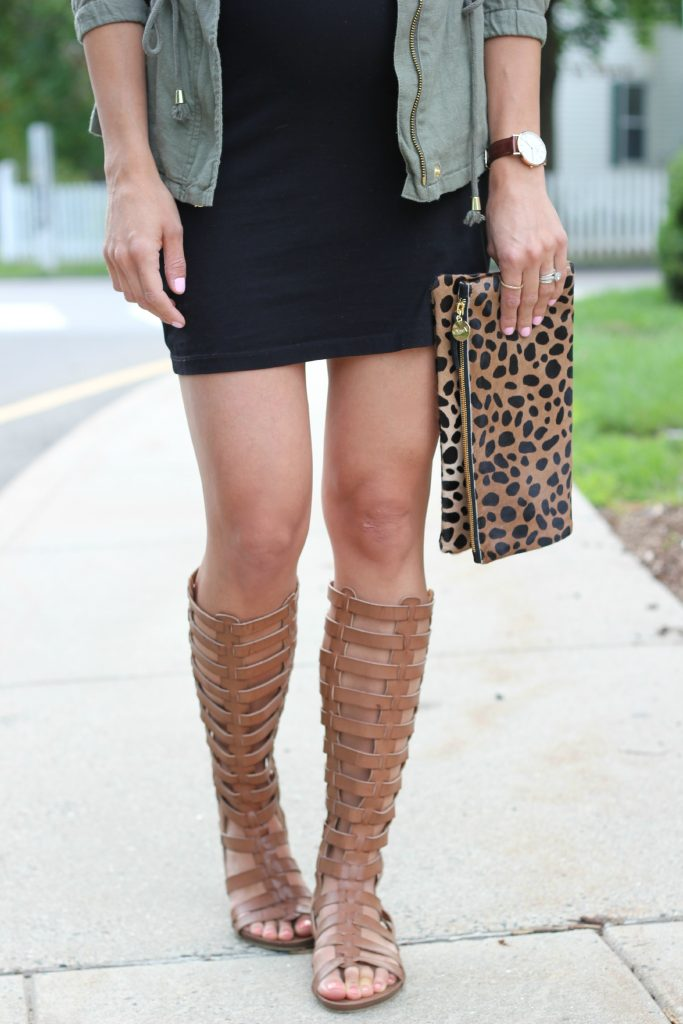 Canvas jacket with a little black t-shirt dress, Clare V. leopard clutch, and MIA Gliteratti sandals