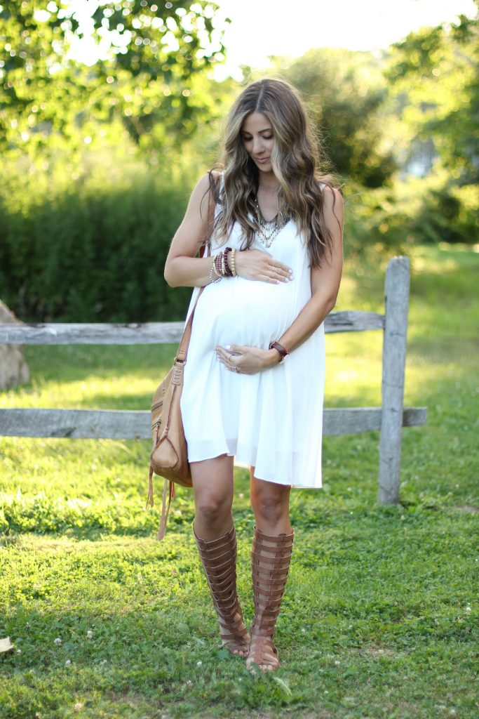 White maternity dress, Pink Blush Maternity, gladiator sandals, bohemian maternity