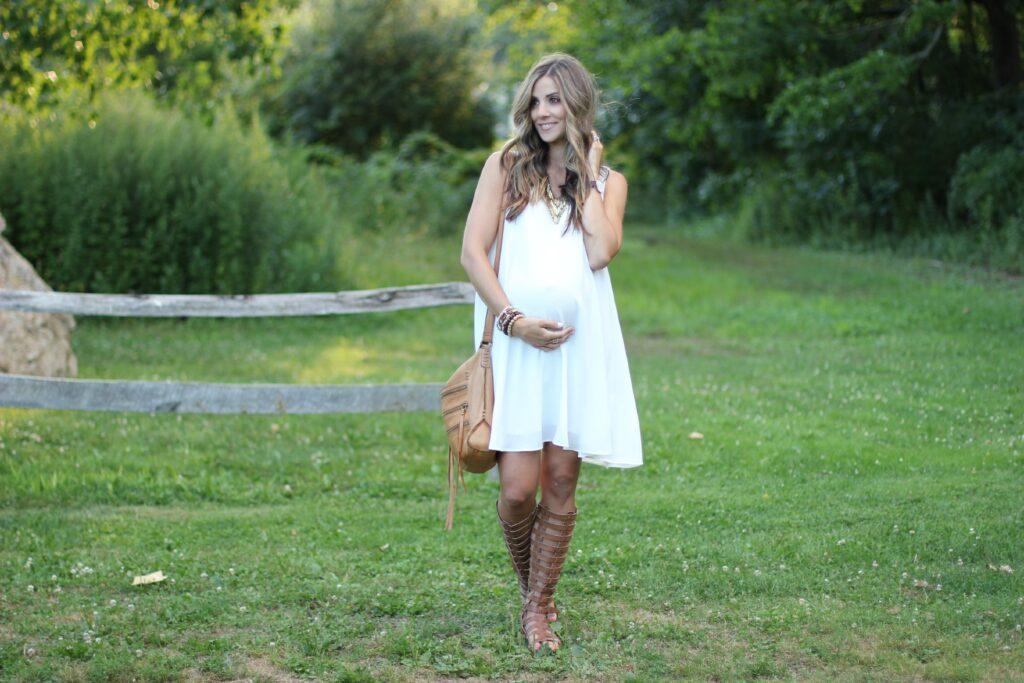 White maternity dress, Pink Blush Maternity, gladiator sandals, bohemian maternity