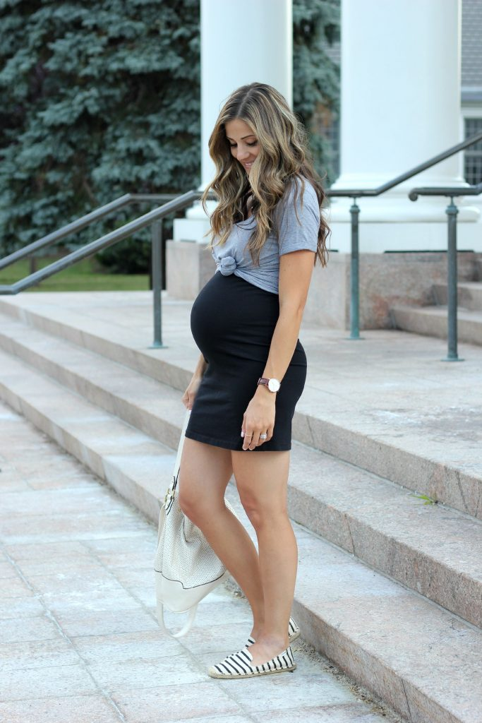 Save this! A casual little black dress with striped soludos. Easy Maternity style!