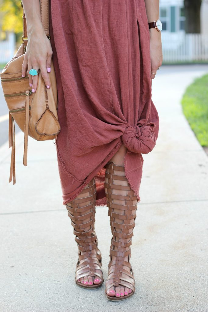 Urban Outfitters Urban Renewal Dress worn for maternity style with gladiator sandals
