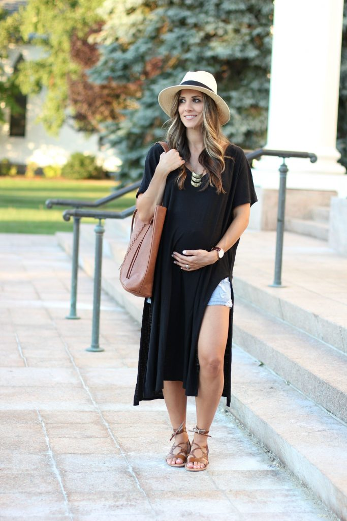 Black High Side Slit Dress , Gladiator sandals, Maternity fashion, Maternity style