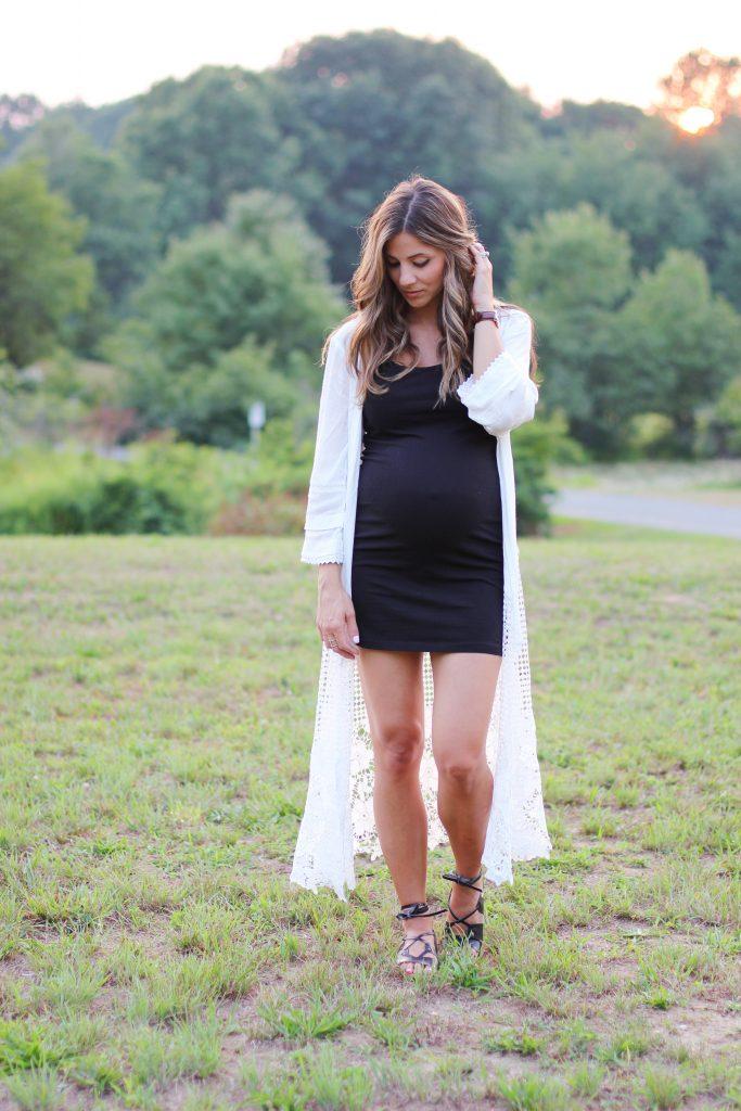 SheInside Crochet Cardigan, Maternity Style