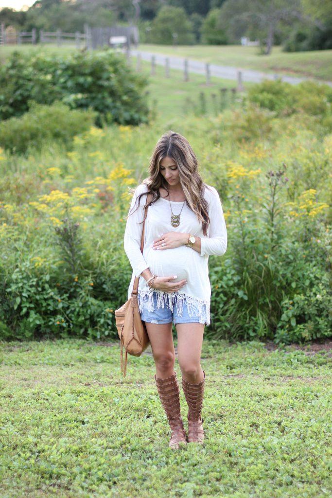 Boho Maternity Style, Fringe top, gladiator sandals, distressed shorts