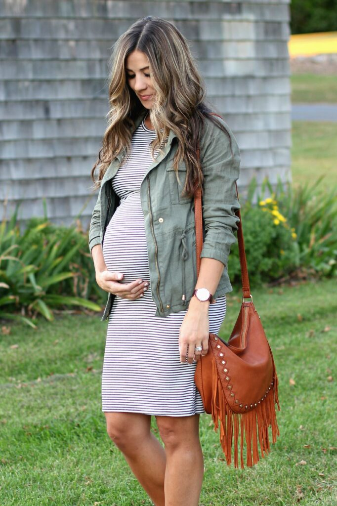 Field Jacket and Striped Midi Dress, Maternity Style, Lauren McBride