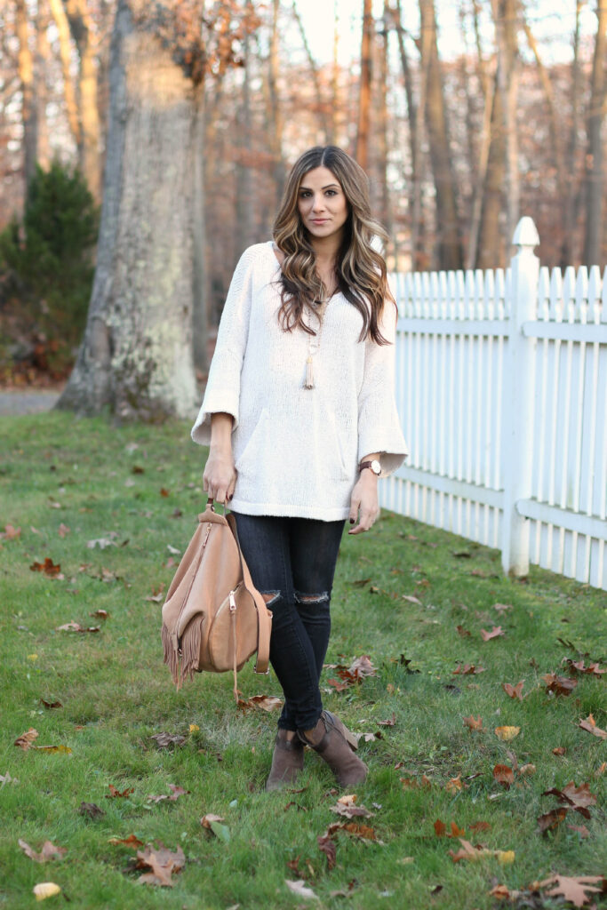 Nursing friendly fashion, Free People Sweater, Rack Room Shoes, Rebecca Minkoff backpack