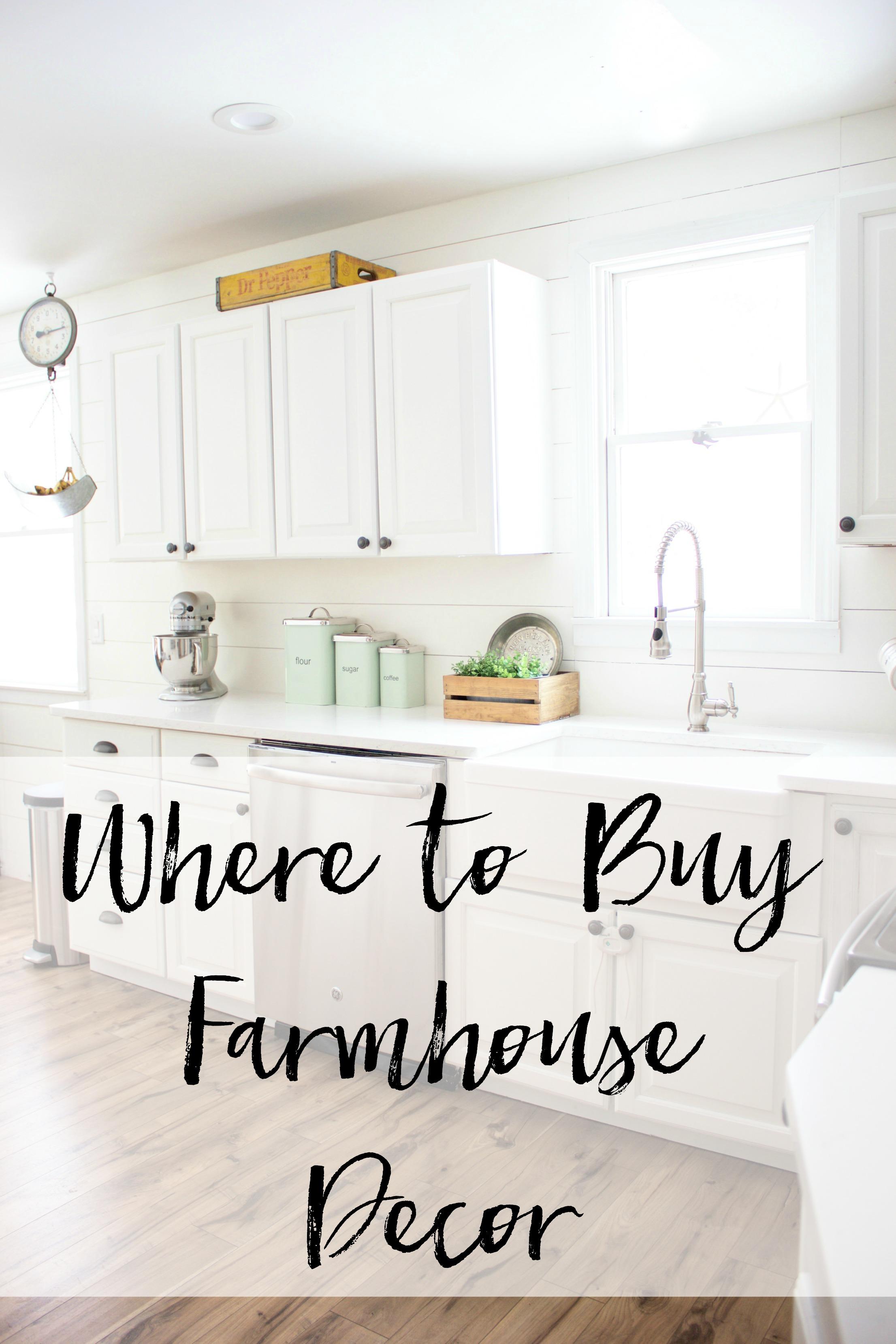 Where To Buy Farmhouse Decor  ||  A list of shops of where to buy farmhouse decor items for your home!