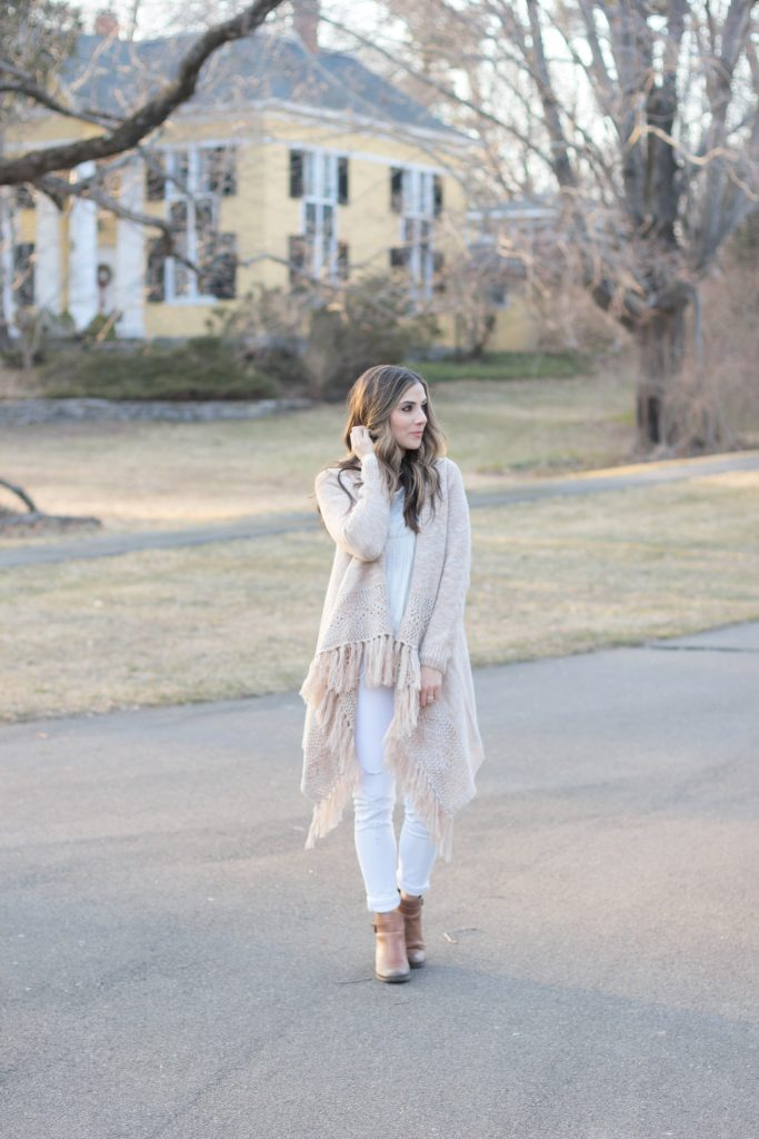 Fringe cardigan with Old Navy distressed white skinny jeans