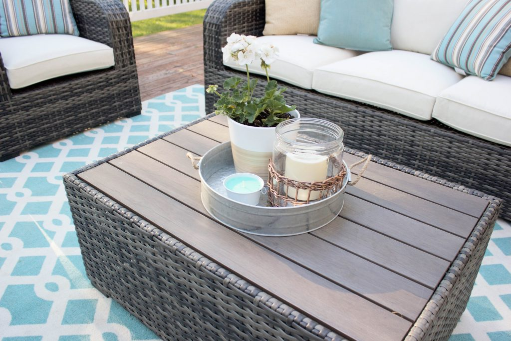 Stylish outdoor patio space with Raymour & Flanigan