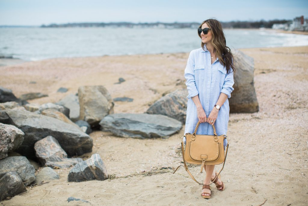 Casual linen shirt dress