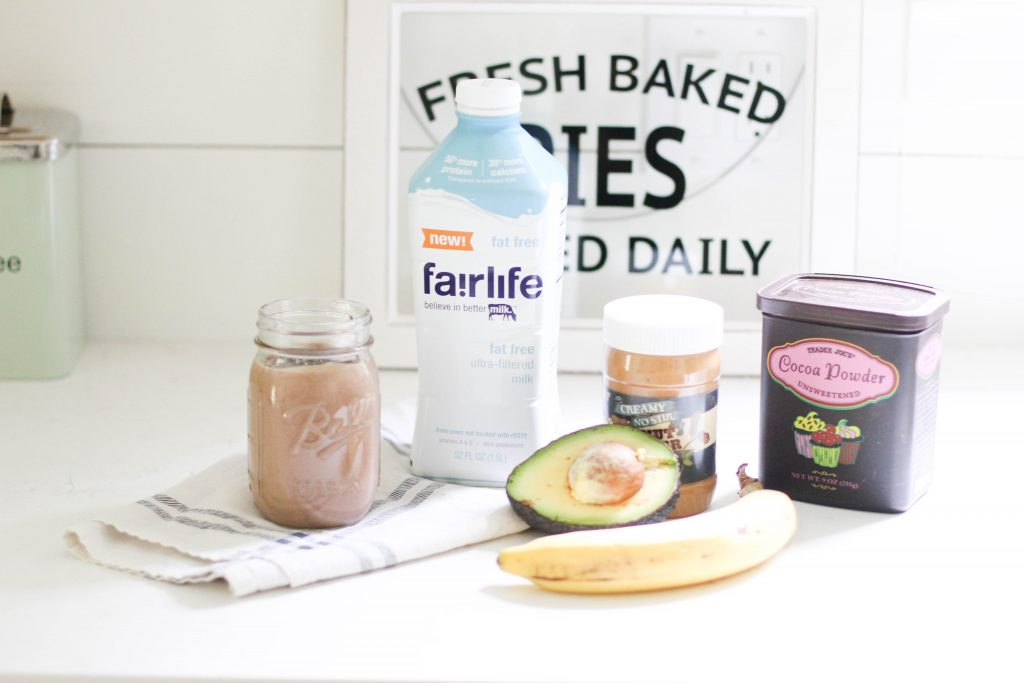 A delicious chocolate peanut butter avocado smoothie packed with healthy fats and protein for moms on the go.