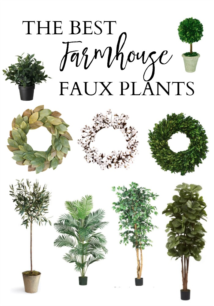 Bookmark this! The Best Farmhouse Faux Plants for your modern farmhouse bedroom, living room, kitchen, and more! You don't need a green thumb for this!
