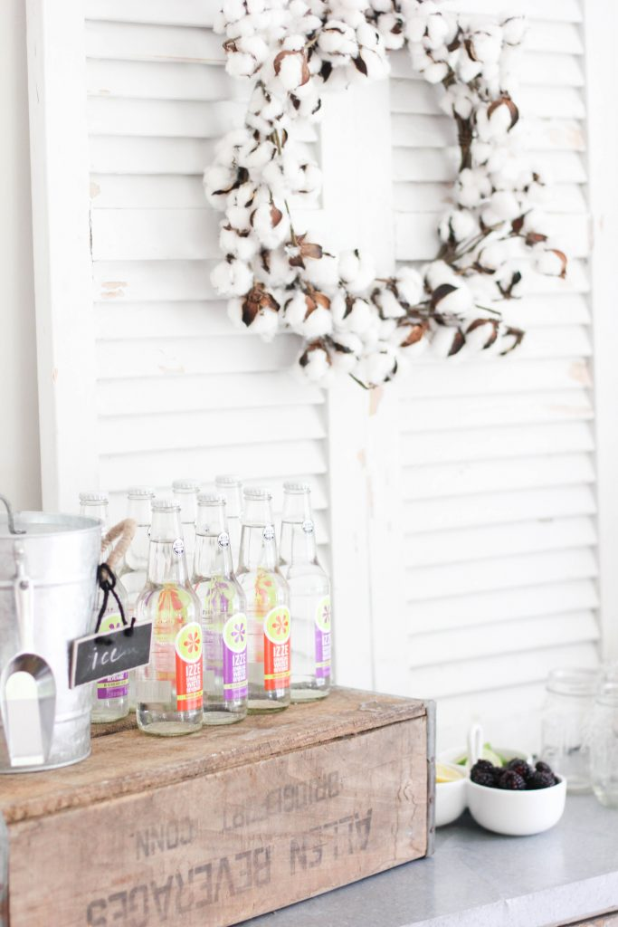 Simple DIY drink station using vintage decor