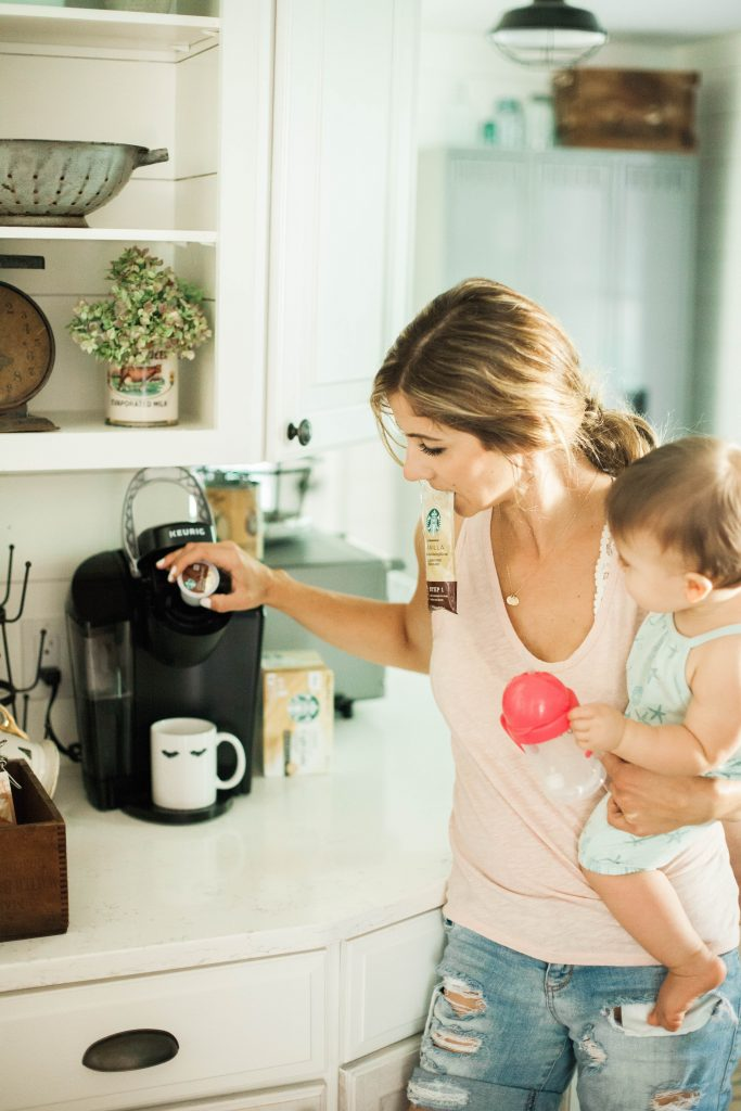 A home coffee bar for sleep deprived moms with Starbucks