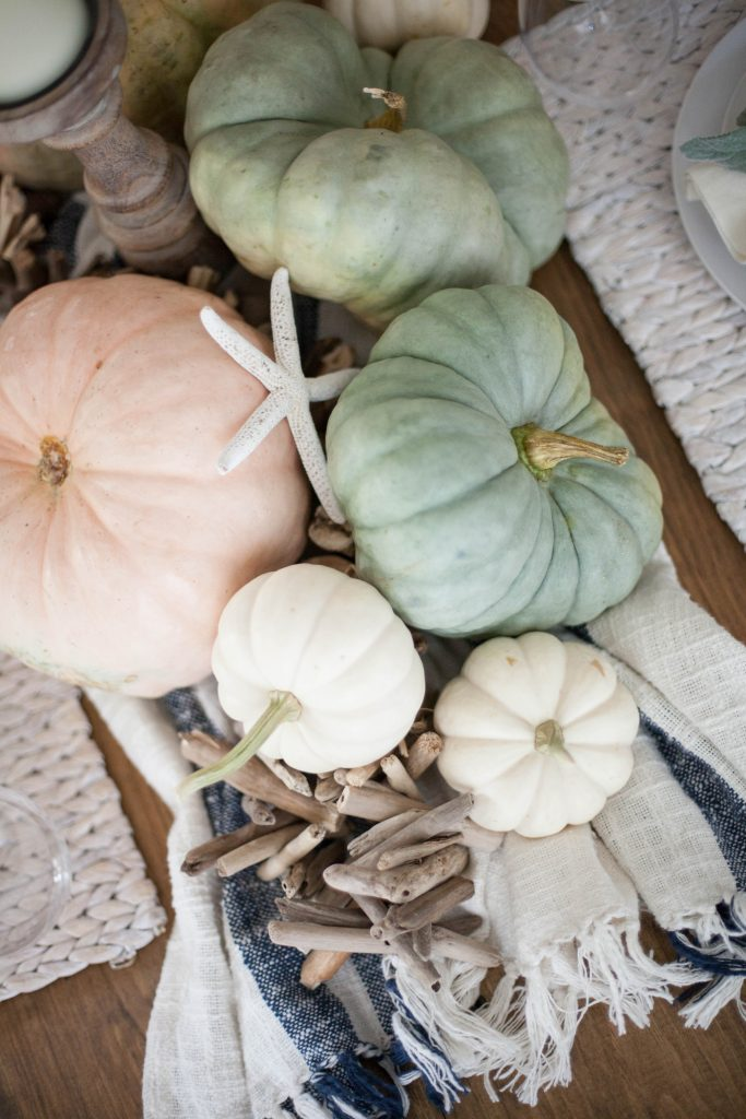 A simple coastal fall tablescape using natural elements and heirloom pumpkins for easy table decor for your fall entertaining!