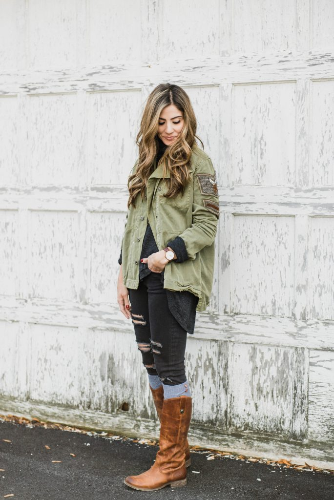 A casual fall look styling a cargo jacket with Frye boots