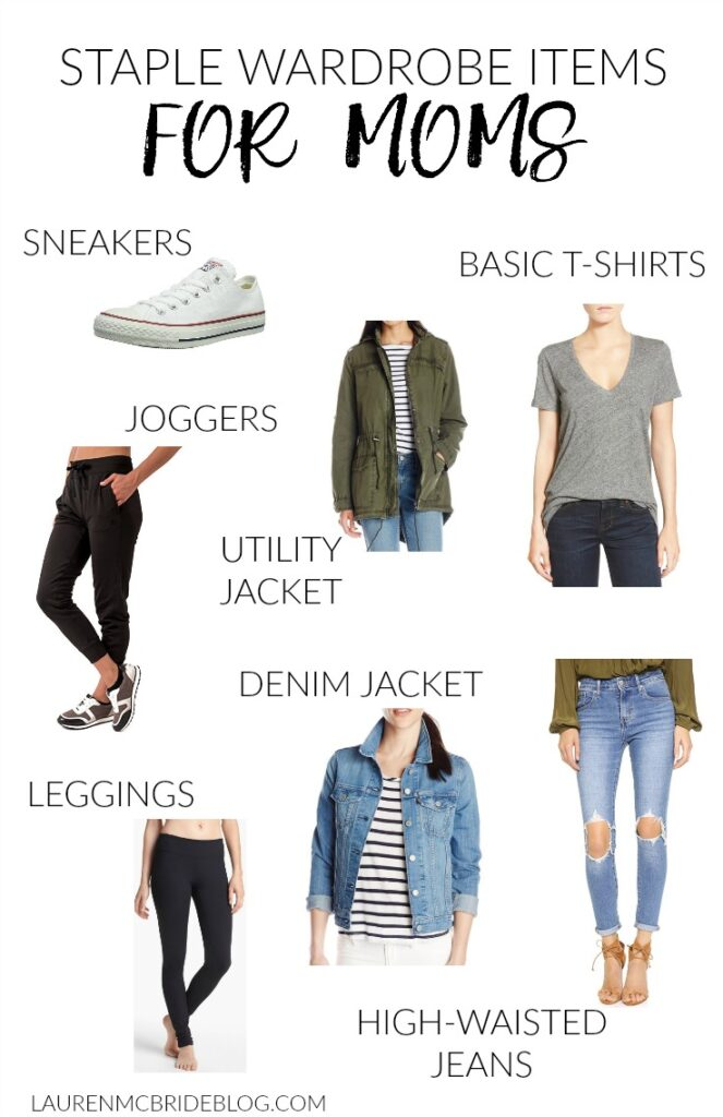 A short list of staple wardrobe items for moms that are stylish and comfortable enough for chasing the kids!