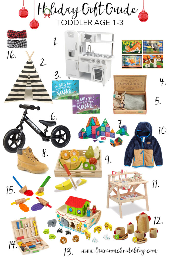 A curated holiday gift guide for toddlers ages 1-3 featuring a variety of toys to stimulate gross and fine motor skills, including wooden toys.
