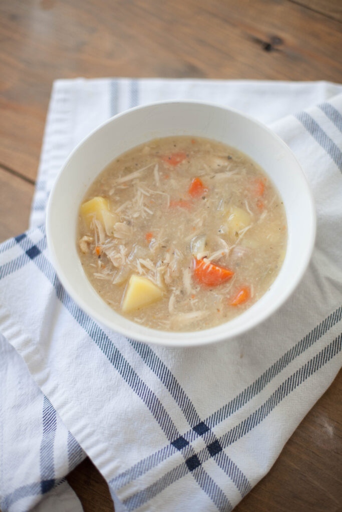 A delicious Whole30 compliant chicken soup recipe that's easy for busy moms! Also a week 1 update of my personal experience with Whole30