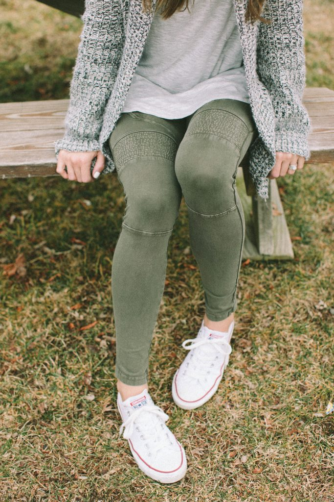 How to style moto leggings, and six different outfit ideas showing moto leggings styled!