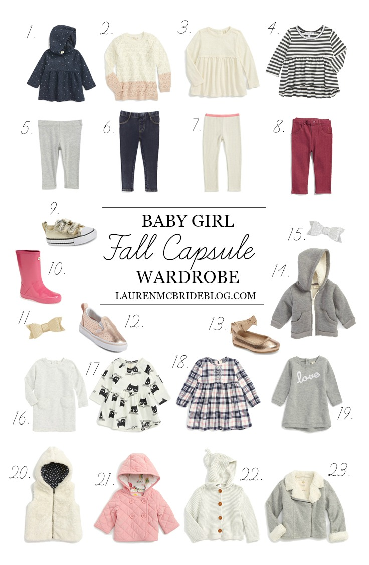 Connecticut based life and style blogger Lauren McBride shares an adorable Baby Girl Fall Capsule Wardrobe that will save you money and last all season.