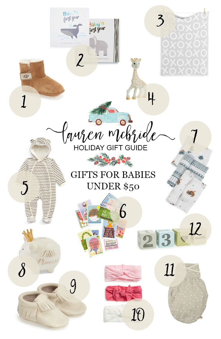 Life and style blogger Lauren McBride shares Holiday Gifts for Babies Under $50 that make great gifts for expecting parents, too!