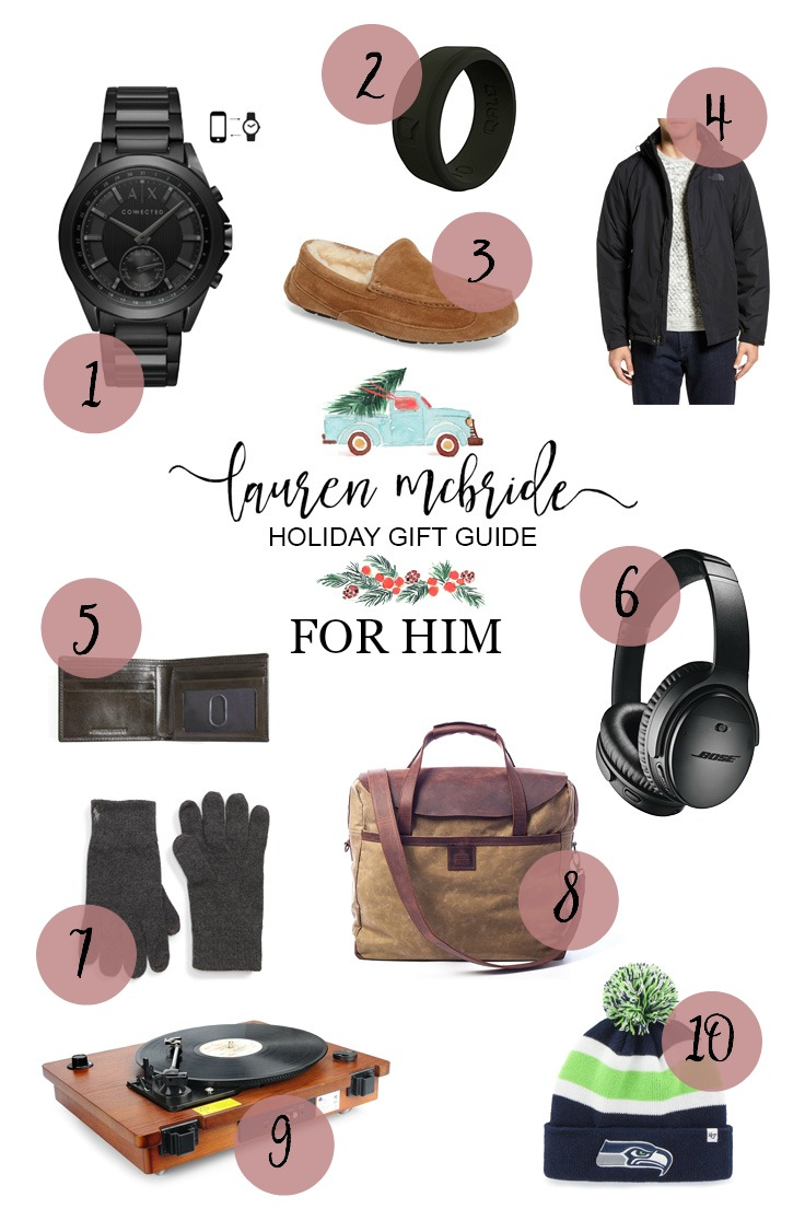 Life and style blogger Lauren McBride shares her Holiday Gift Guide For Him featuring a wide variety of items for the man in your life.