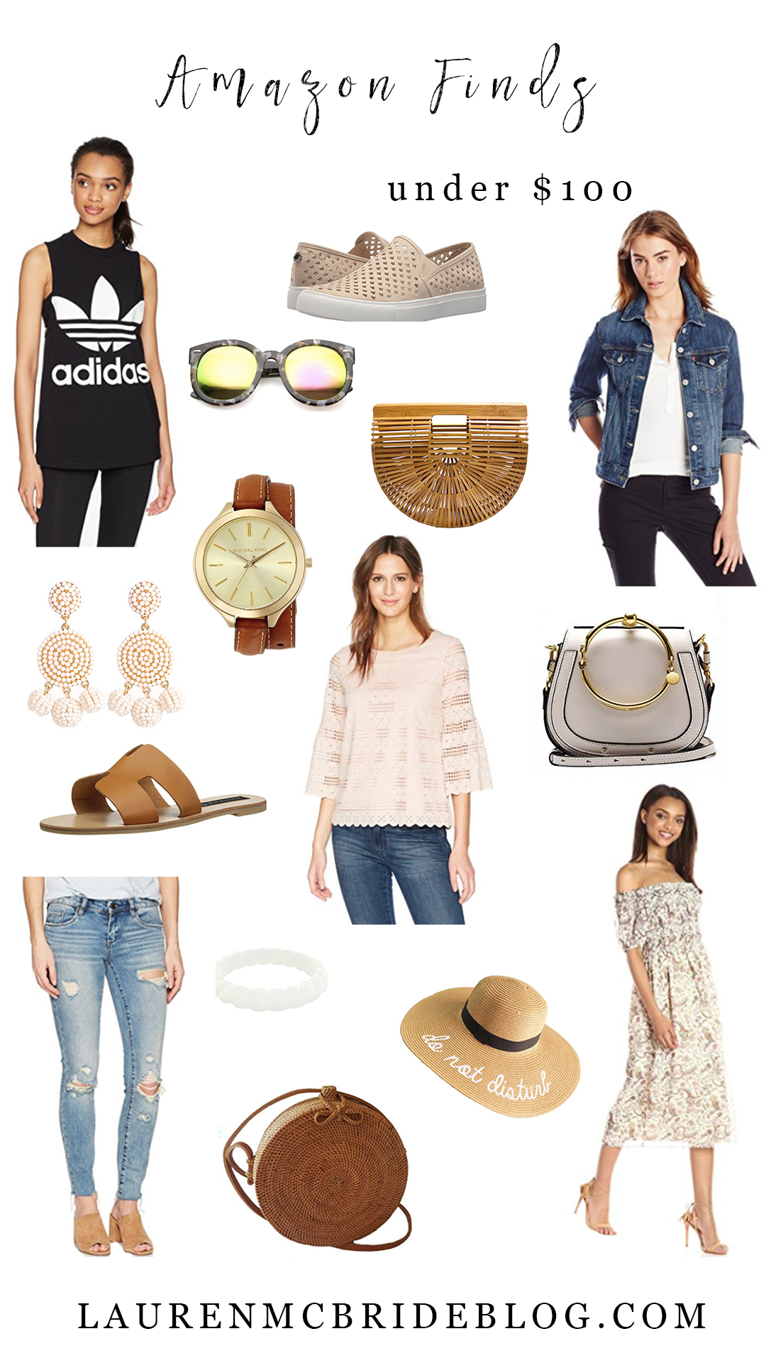 Life and style blogger Lauren McBride shares 15 great Amazon finds under $10, including workout gear, spring bags, shoes, and closet staples.
