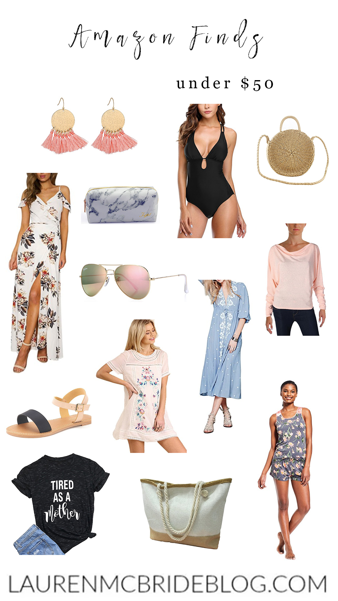 Life and style blogger Lauren McBride shares Amazon Finds under $50, including swimwear, accessories, shoes, bags, and more.