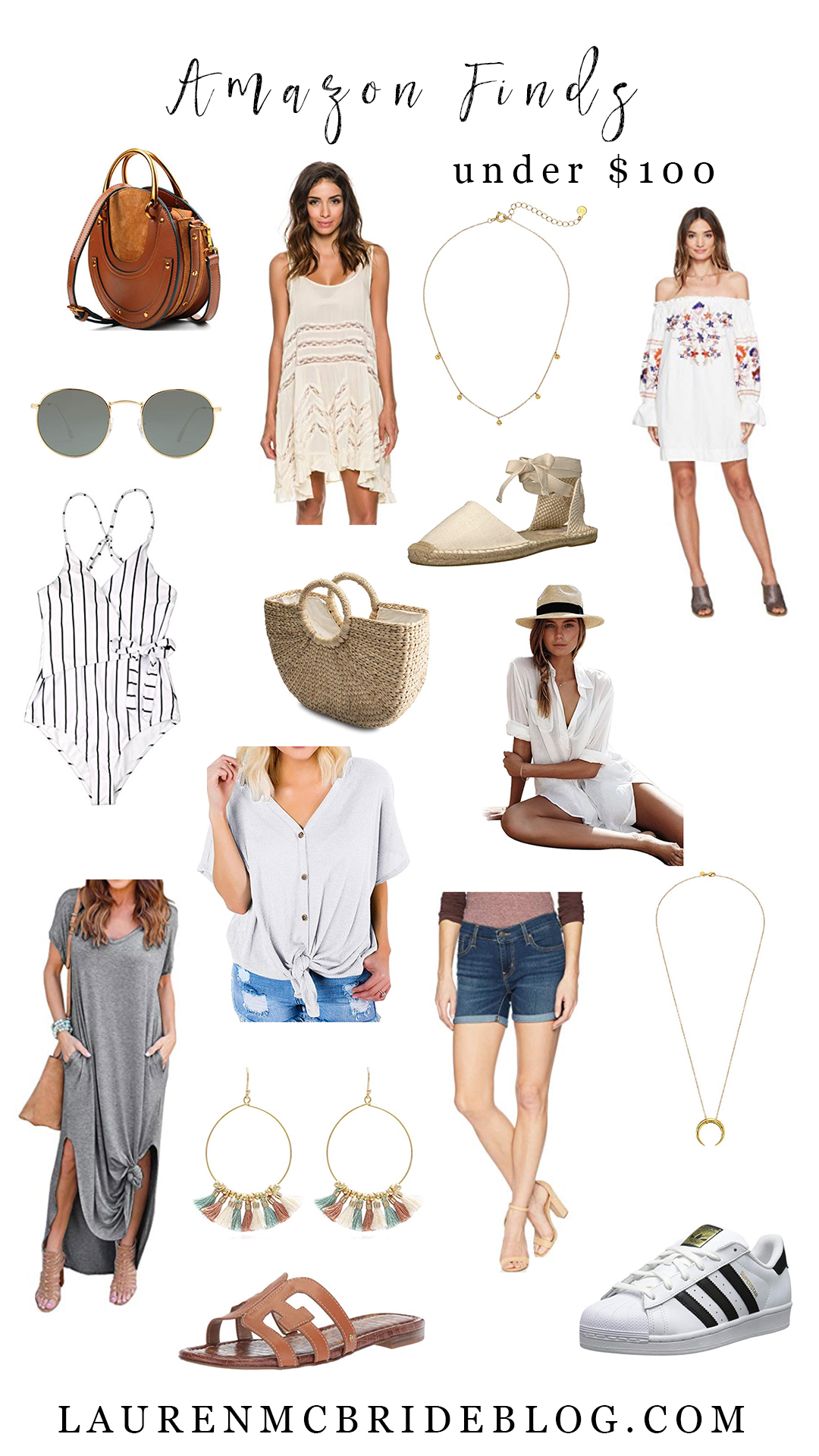 Connecticut life and style blogger Lauren McBride shares her July Amazon Finds under $100 that include Chloe and Ray-Ban dupes, and a variety of clothing, shoes, and accessories.