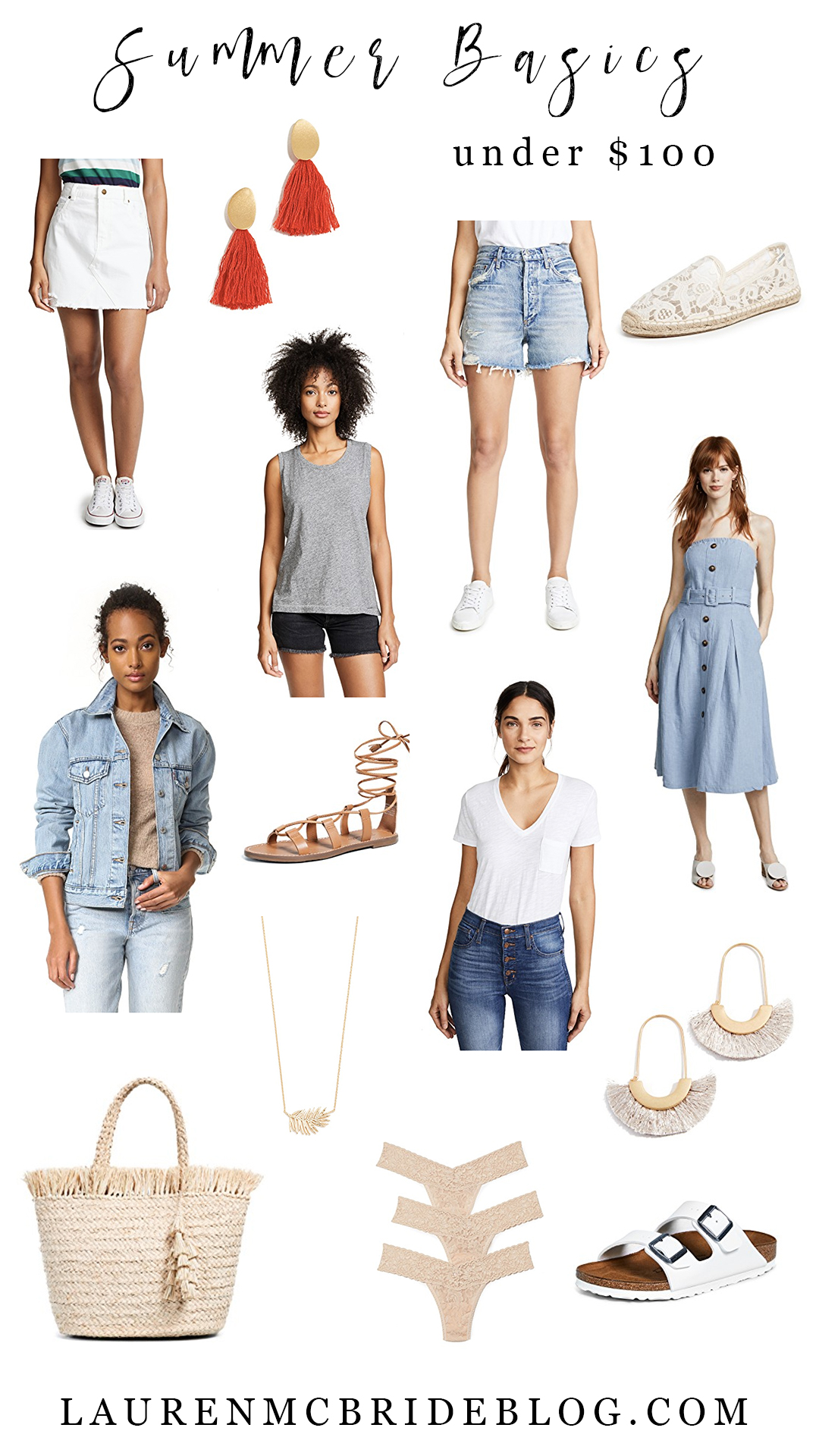 Connecticut life and style blogger Lauren McBride shares summer basics under $100 including staple wardrobe pieces that are versatile and will carry into the next season.