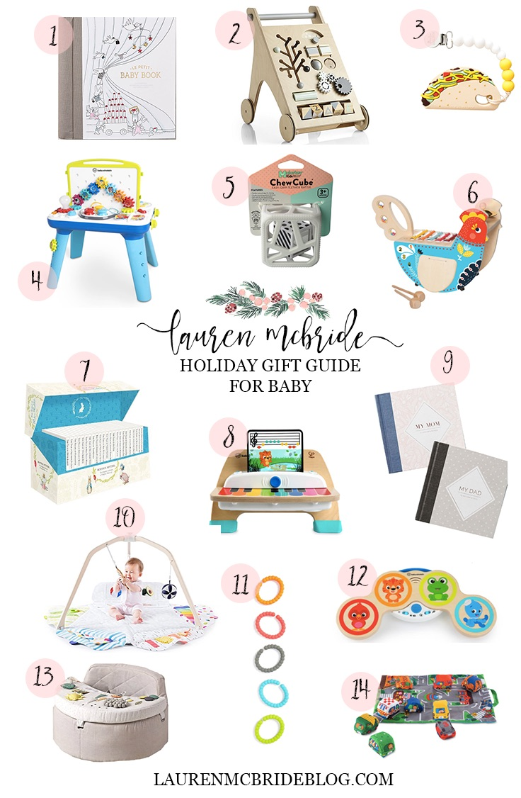Connecticut life and style blogger Lauren McBride shares a holiday gift guide for babies ages 0-12 months, featuring gifts for all developmental stages.