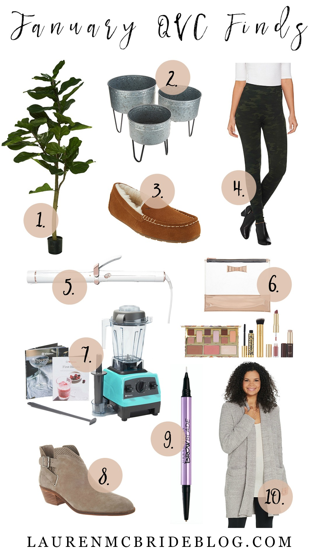 Connecticut life and style blogger Lauren McBride shares her January QVC Finds including a faux fiddle leaf fit, beauty deals, and cozy options.