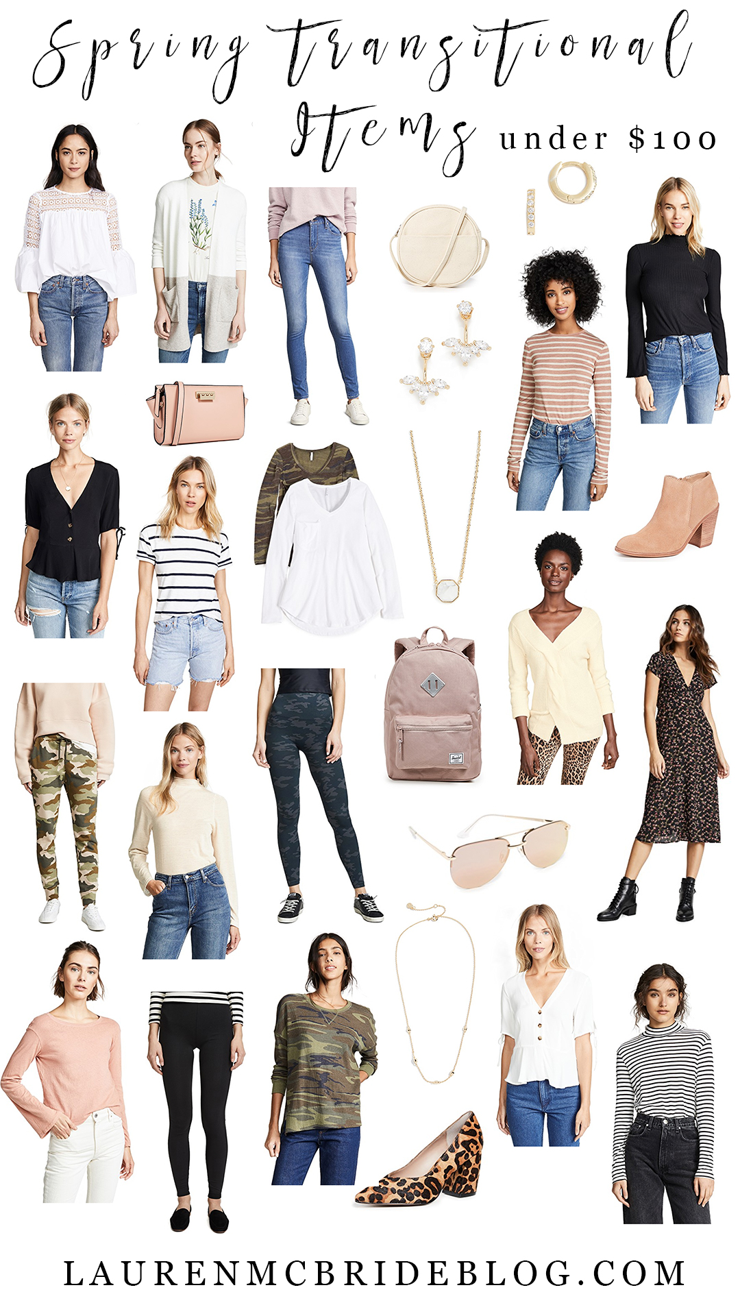 Connecticut life and style blogger Lauren McBride shares spring transitional pieces that are under $100.