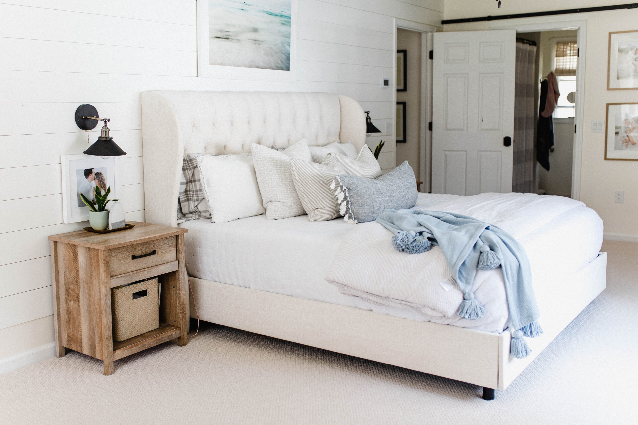 Connecticut life and style blogger Lauren McBride shares a home tour of her master bedroom, featurng paint colors and a source list.
