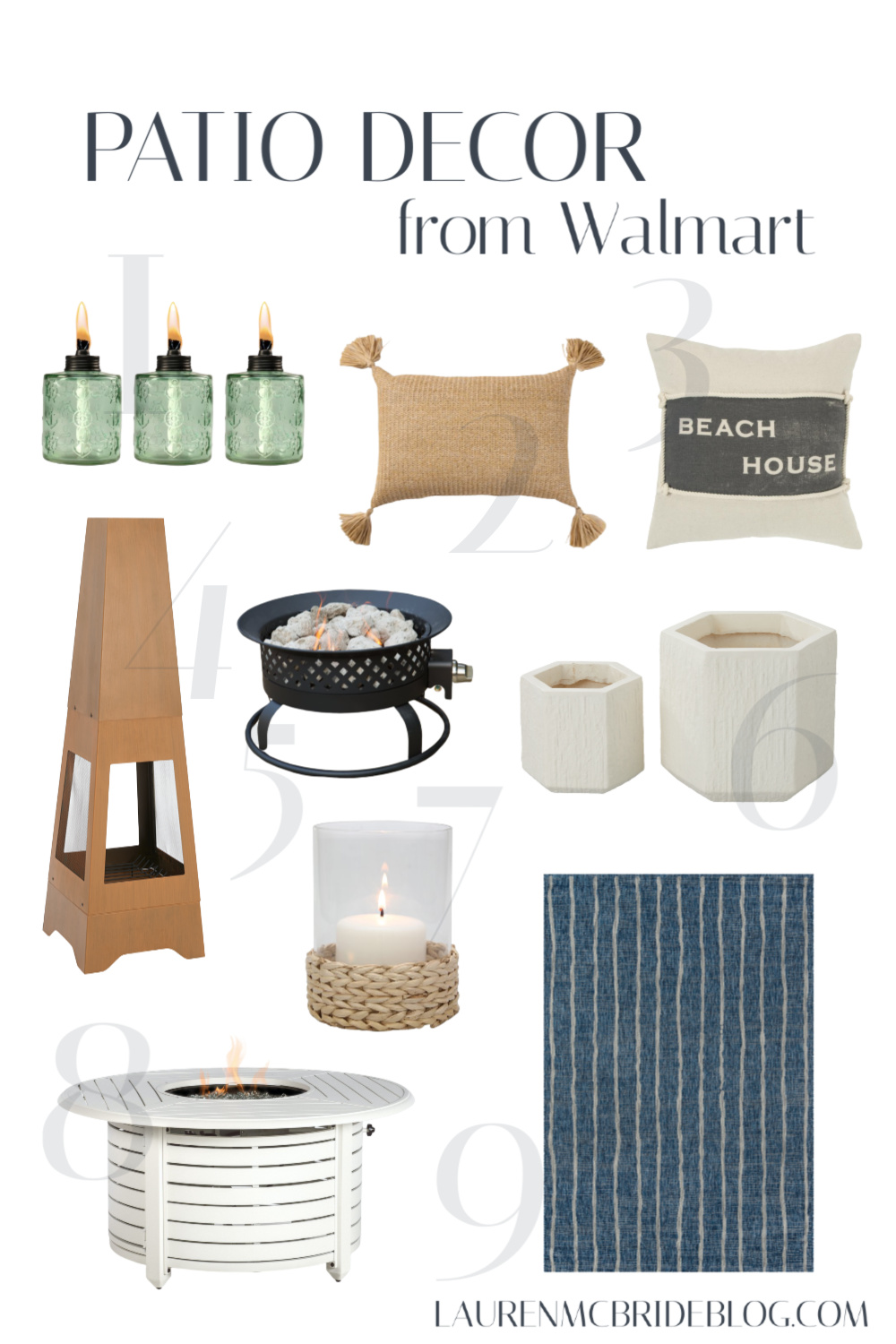 Connecticut life and style blogger Lauren McBride shares a round up of Patio Decor from Walmart, including outdoor rugs, pillows, and decor options.